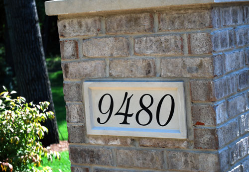 featured engraved sign, address stone